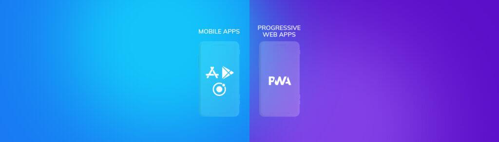 Deux téléphone à côté, d'un avec noté dessus Mobile Apps, l'autre avec Progressive Web Apps